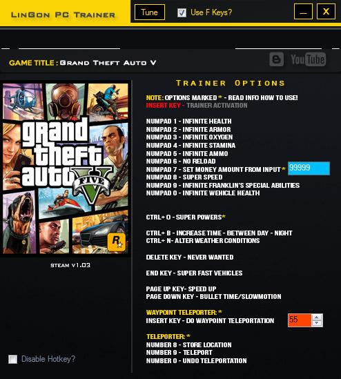 Grand Theft Auto V +20 Trainer v1.03 Rev4 - Трейнеры - GTA V - Каталог файлов - GTA - Всё для правильной игры. Моды, машины, тре
